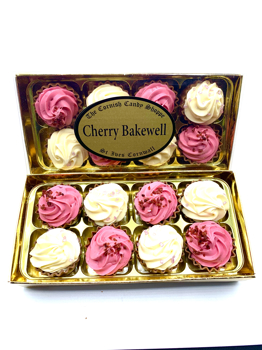 Gold boxed Cherry Bakewell Cupcakes